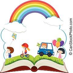 행복하다, 책, 공원, 아이들 놀