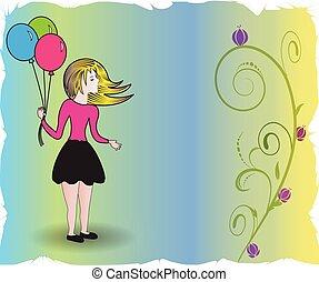 행복하다, 카드, 기구, 기념일, 소녀