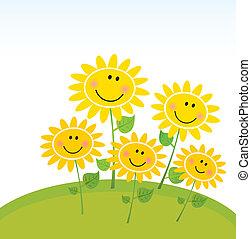 행복하다, 해바라기, 정원, 봄