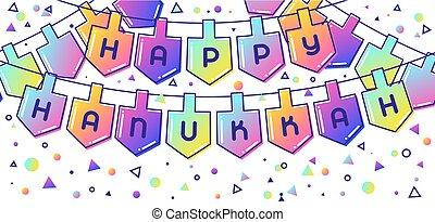 행복하다, hanukkah, 물건, 휴일, 기치, 축하