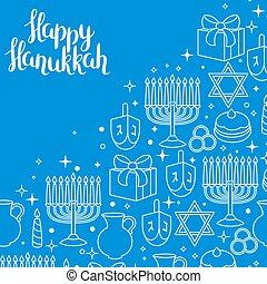 행복하다, hanukkah, 물건, 휴일, 카드, 축하