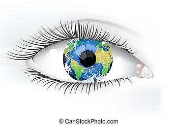 행성, 눈, 지구, desaturated