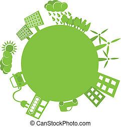 행성, 단일의, 녹색, 로고
