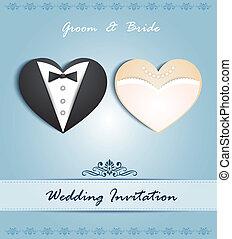 형태, 심장, 카드, 결혼식