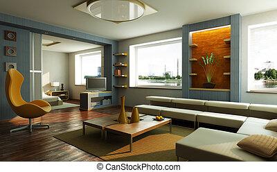 호텔 따위의 사교실, 내부, 현대 방