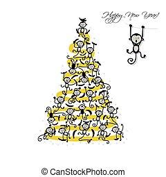 혼자서 젓는 길쭉한 보트, 나무, 원숭이, 크리스마스, 디자인, 너의