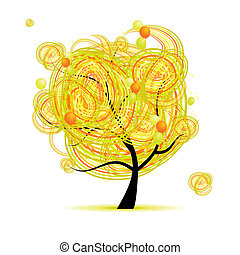 혼자서 젓는 길쭉한 보트, 나무, 황색, 디자인, ballons, 너의