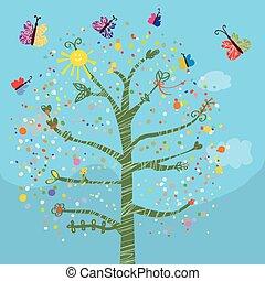 혼자서 젓는 길쭉한 보트, 나비, 키드 구두, 나무, 카드