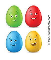 혼자서 젓는 길쭉한 보트, 달걀, 착색되는, 얼굴, 부활절, 행복하다