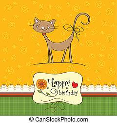 혼자서 젓는 길쭉한 보트, 생일 카드, 고양이