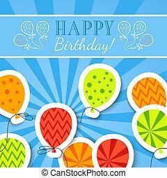 혼자서 젓는 길쭉한 보트, 우편 엽서, 생일, 벡터, balloons., 행복하다
