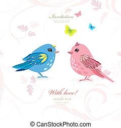 혼자서 젓는 길쭉한 보트, 한 쌍, 새, 나비, 디자인, 너의