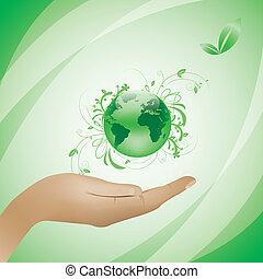 환경, 개념, 녹색의 배경