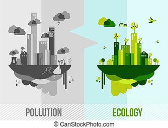 환경, 개념, 녹색, 삽화