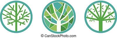 환경, 나무, 세트, 녹색
