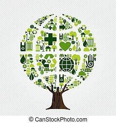 환경, 녹색, 개념, 나무, 친절한