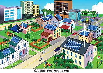 환경, 도시, 녹색, 친절한, 장면