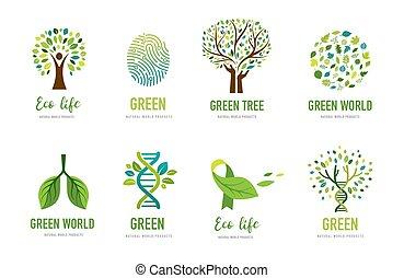 환경, 벡터, 녹색, design., 일, 개념, 세계, 가다, 삽화