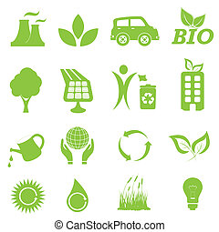 환경, 생태학, 세트, 아이콘