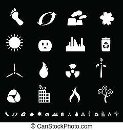 환경, 에너지, 날씬한, 아이콘