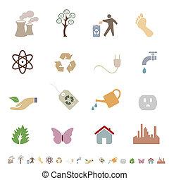 환경, eco, 날씬한, 상징