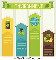 환경, infographic, 생태학, icons.