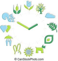 활동, 아이콘, 봄, 시계, 구체, time., hours.