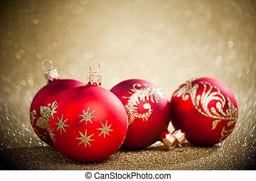 황금, 공, 크리스마스, 배경