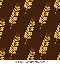 황금, 밀, 패턴, seamless, 곡물, 귀