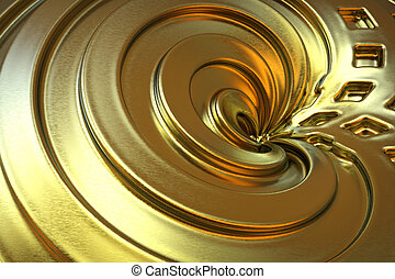 황금, 색, 떼어내다, rendering., 배경., 3차원