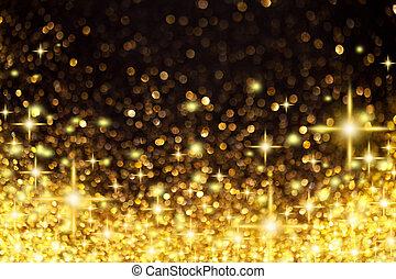 황금, 크리스마스, 배경, 은 주연시킨다, 은 점화한다