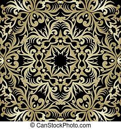 황금, designer., 꾸밈이다, style., 패턴, 장식, 연장 모음, 요소, 전통적인, victorian, 벡터, 화려한, 꽃의, 바로크, design., 인사, decor., 카드.