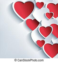 회색, 연인, 배경, 심혼, 유행, 일, 빨강, 3차원