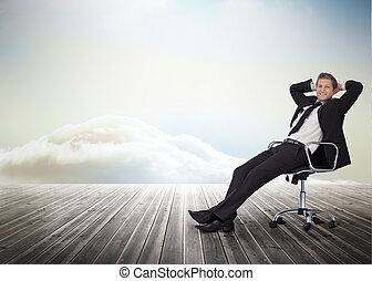 회전 조인트, 미소, 의자, 실업가, 착석