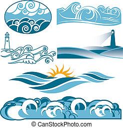 회전, 파랑, 바다