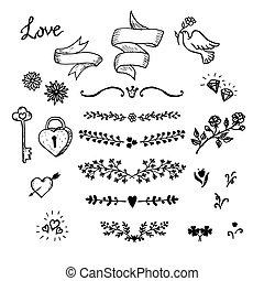 훈장, 성분, 손, 장식적이다, 리본, 결혼식, 세트, elements., 꽃, 벡터, 그래픽 디자인, 만든, wedding.