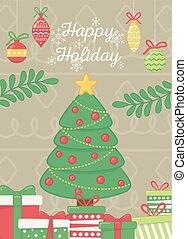휴일, 나무, 공, 은 분기한다, 포스터, 별, 장식적이다, 축하, 행복하다, 선물