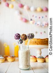 휴일, 사탕, 은 터진다, 멍청한, 배경, 케이크, sweetness., 테이블.