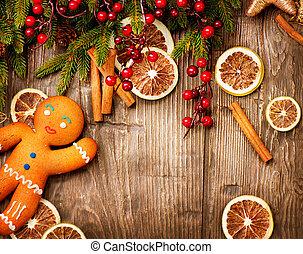 휴일, 크리스마스, 진저브레드 남자, 배경.