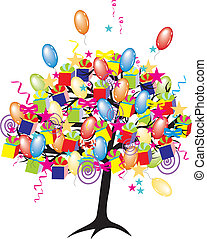 휴일, 파티, baloons, 사건, 만화, 나무, 행복하다, giftes, 상자