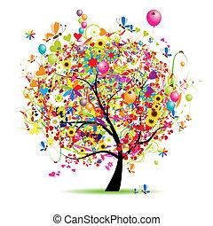휴일, 혼자서 젓는 길쭉한 보트, 행복하다, 나무, 기구