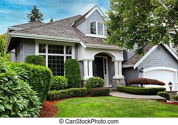 히말라야삼목, 지붕, 보이는 상태, 끝내다, 현대, 동안에, 여름, 가정, 동요, 위로의