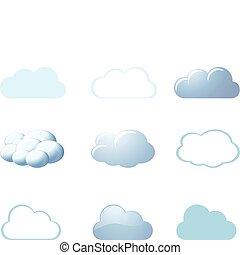 -, 날씨, 구름, 아이콘