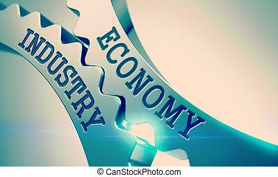 -, 산업, 금속, 우주기계론, 3d., cogwheels., 빛나는, 경제