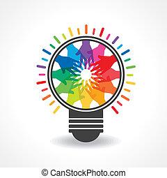 -bulb, 만들다, 손, 색채가 다양한 빛