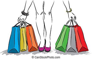 1, 소녀, 쇼핑