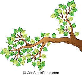 1, 잎, 나무, 만화, 가지