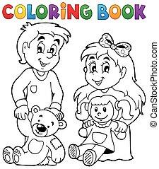 1, 채색, 아이들, 책, 장난감