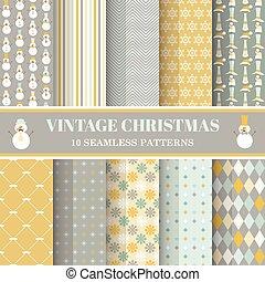 10, 세트, 사진, -, seamless, 크리스마스, 패턴, 벡터, retro, 디자인, 노점