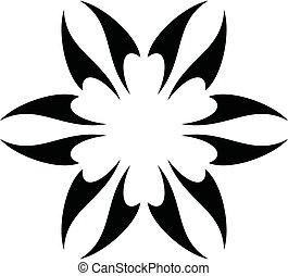 10., eps, 본뜨는 공구, design., 로고, 내부, 이, 꽃, 별, 삽화, 벡터